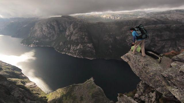 Awesome - Base Jumping From A Rocky Mountain