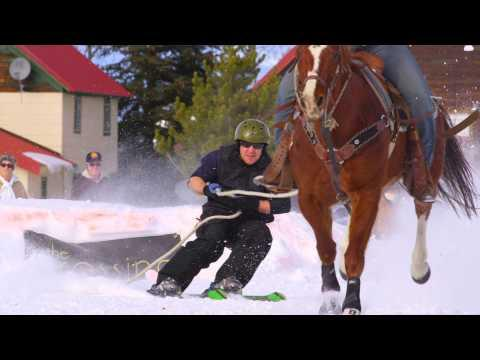Skiing Using A Horse In Montana