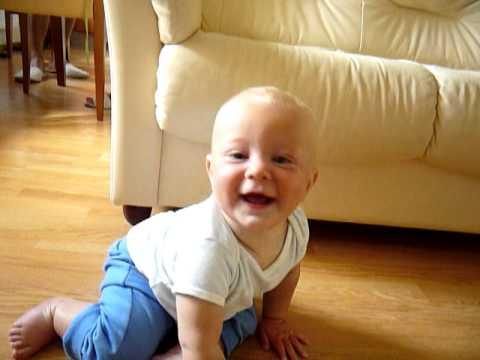 Cute - Baby Boy Plays With The Ball