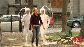 Two Guys Dressed As Sperm Chase Woman Prank