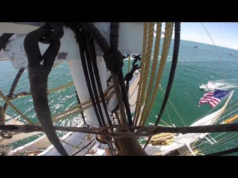 Girl Climbs On Top Of The Main Mast Of The Chars W Morgan Ship