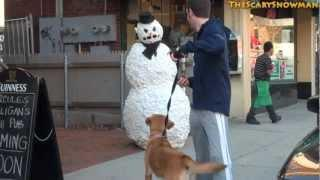 Scary Snowman Vs Dogs Prank