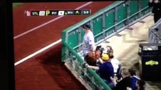 Baseball Fan Uses Giant Glove To Catch Foul Ball