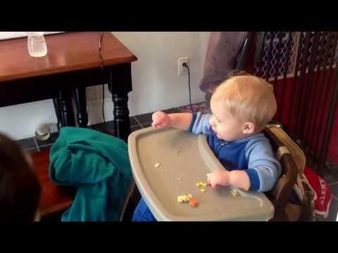 Funny Baby's Reaction After Cat Steals His Chicken