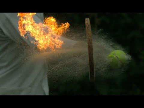 Awesome - Playing Tennis With A Burning Tennis Ball