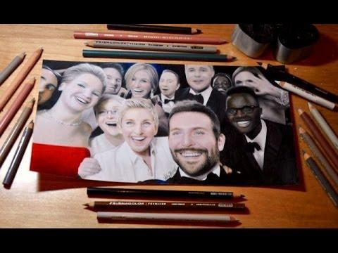 Photo Realistic Drawing Of Epic Oscars Selfie By Heather Rooney