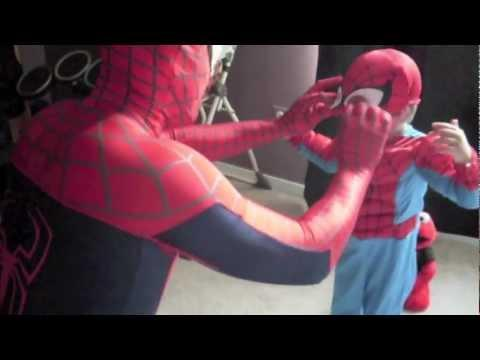 Cute - Spider-Man Takes His Son To Trampoline Park