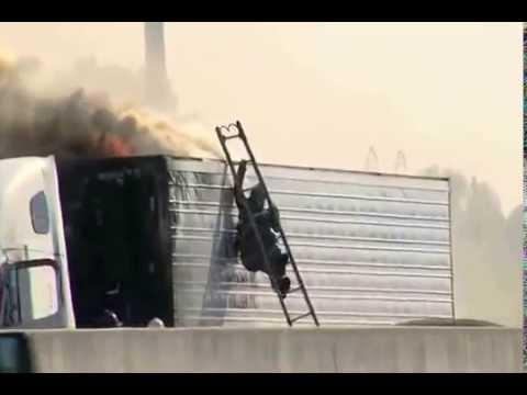 Firefighter Trying To Fight The Truck Fire Fail