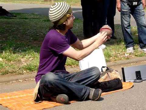 Epic - Street Performer Plays With 3 Crystal Balls