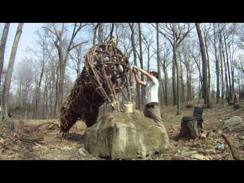 Bear Sculpture Created Using Natural Materials By Ben Gazsi