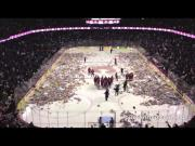 Calgary Hockey Fans Throw Teddy Bears On The Ice
