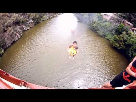 Crazy - Burning Double Backflip Into Water From A Bridge
