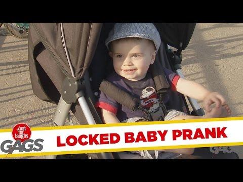 Stroller With Baby Locked To Bike Rack Prank